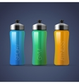 Set of blank colorful sports bottles for water vector image vector image