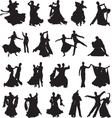 silhouettes of couples dancing ballroom dance vector image