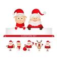 christmas set santa claus Christmas reindeer sheep vector image