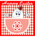 comic postcard at Easter with a cheerful egg vector image