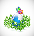 Earth envelop by green plants symbol and butterfly vector image