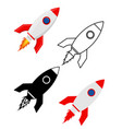 space rocket retro spaceship set flat icons vector image