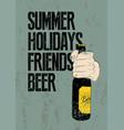 summer beer typographic retro grunge poster vector image