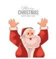 Greeting card cartoon Santa Claus with hands up vector image