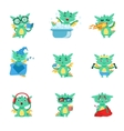 Little Dragon Everyday Activities And Emotions Set vector image