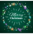 Christmas light wreath decorative lighting vector image vector image