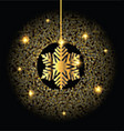 Golden Christmas snowflake background vector image
