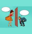 man and woman looking through a door voyeurism