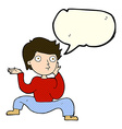 cartoon boy doing crazy dance with speech bubble vector image