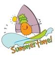 Pineapple windsurfing summertime vector image