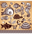 set of fish and flowers with ornaments vector image