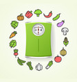 vegetables fresh food and floor scales health life vector image