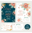 Vintage romantic floral Save the Date invitation vector image