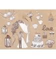 Vintage set of hand drawn wedding elements - vector image