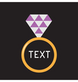 Wedding ring with purple diamond Card vector image