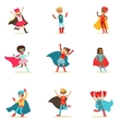Children Pretending To Have Super Powers Dressed vector image