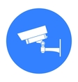 Security camera icon in black style isolated on vector image