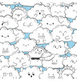 background with cute doodle clouds vector image