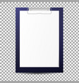 realistic clipboard with blank paper sheet vector image