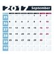 Calendar 2017 September design template vector image