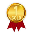 champion gold medal with red ribbon icon sign of vector image