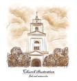 church bush cloud - watecolor and ink vector image