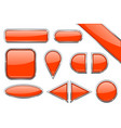set of orange glass buttons with metal frame vector image