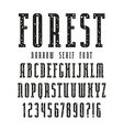 Narrow serif font with speckled texture vector image