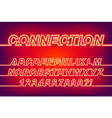 Neon Connection One Line Font vector image
