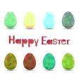 set of easter eggs with polygonal ornament vector image