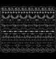 white chalk floral borders on black board wedding vector image