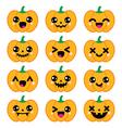 Halloween Kawaii cute pumpkin icons - vector image