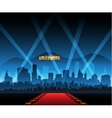 Hollywood movie red carpet background and city vector image
