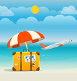 Flying aircraft vacation concept Flat design vector image
