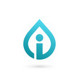 Letter i water drop logo icon design template vector image