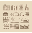 Linear cityscape landscape elements and buildings vector image