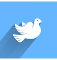 Stylized pigeon of peace white icon with long vector image