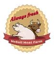 McCoil Meat Farm label - Always fresh vector image