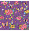 floral pattern butterflies violet vector image