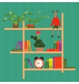 Shelves with colorful books clock cactus and toy vector image