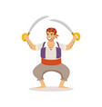 brave pirate character with sabres vector image