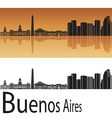 Buenos Aires skyline in orange background vector image