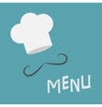 Chef hat and mustache Menu card Curl moustaches vector image