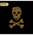 Gold glitter icon of skull and crossbones vector image