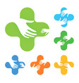 isolated abstract colorful cross with two hands vector image