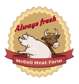 McCoil Meat Farm label - Always fresh vector image