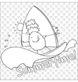 Pineapple windsurfing summertime coloring book vector image