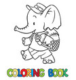 coloring book of little baby elephant vector image