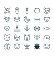 nature icons set collection of rat baboon moth vector image