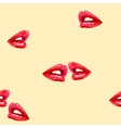 Beige seamless pattern with red lips vector image vector image